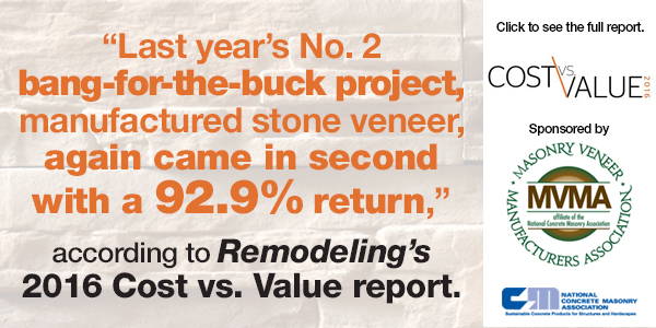 Project Cost to resale value of adding stone veneer